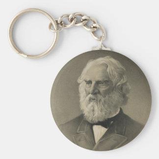 American Poet Henry Wadsworth Longfellow Portrait Keychains
