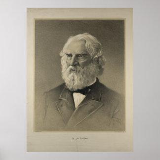 American Poet Henry Wadsworth Longfellow Portrait Poster