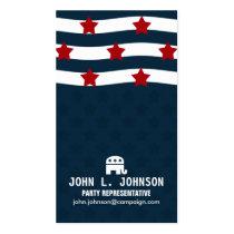politician, campaign, politics, government, stars, american, united states, republican, democrat, political party, Business Card with custom graphic design