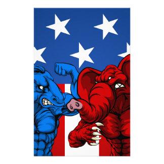 American Politics Elephant Donkey Fight Stationery