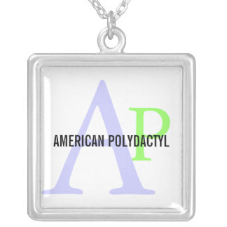 American Polydactyl Breed Monogram Design Silver Plated Necklace