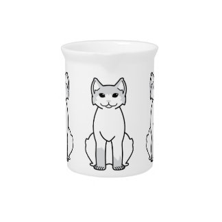 American Polydactyl Cat Cartoon Beverage Pitcher