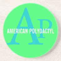 American Polydactyl Monogram Design Coaster