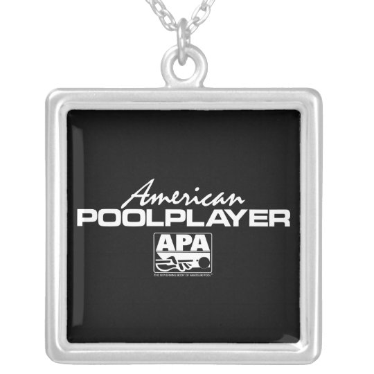 American Pool Player - White Silver Plated Necklace