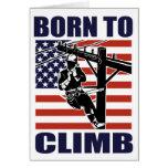 american power lineman electrician repairman pole greeting card