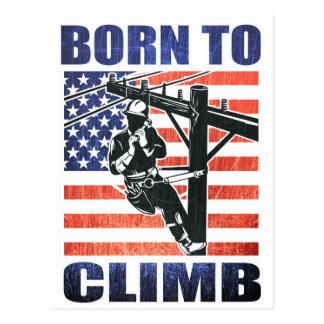 american power lineman electrician repairman pole postcard