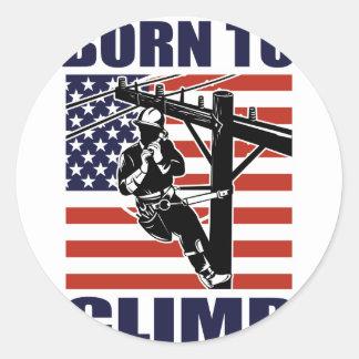 american power lineman electrician repairman pole sticker
