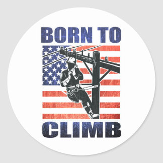 american power lineman electrician repairman pole round stickers