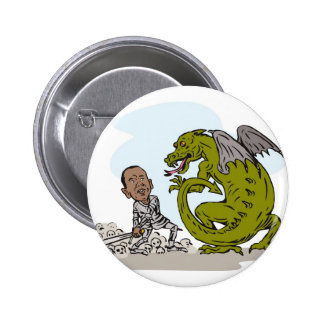 American President Barack Obama Knight Dragon Pinback Button