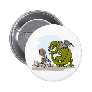 American President Barack Obama Knight Dragon Pinback Buttons