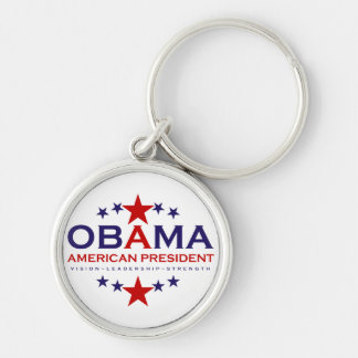 american President Obama Silver-Colored Round Keychain