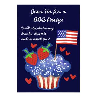 American Pride Cupcake 4th of July BBQ Invitation