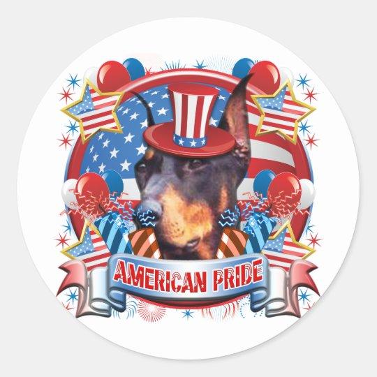 American Pride Doberman Classic Round Sticker