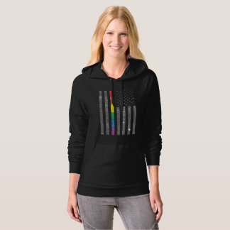 American Pride Flag Dark Women's Fleece Hoodie