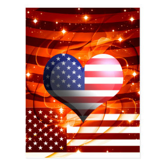 american pride heart design postcard