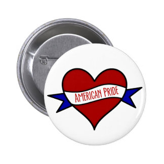 american_pride_heart pinback buttons