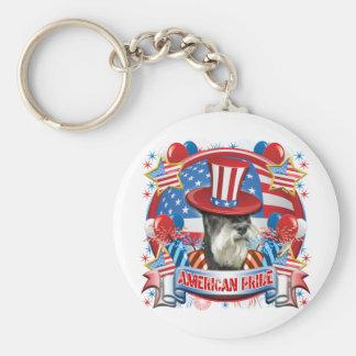 American Pride Miniature Schnauzer Keychain