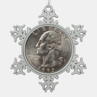 American Quarter 1995 Snowflake Pewter Christmas Ornament