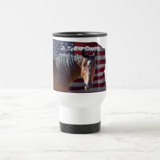American Quarter Horse and Flag - Patriotic 15 Oz Stainless Steel Travel Mug