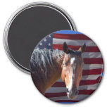 American Quarter Horse and Flag - Patriotic 3 Inch Round Magnet