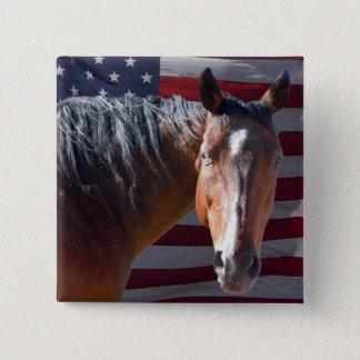 American Quarter Horse and Flag - Patriotic Button