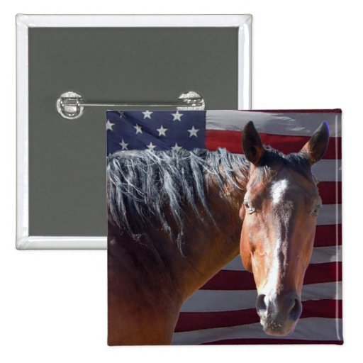 American Quarter Horse and Flag - Patriotic Pinback Buttons