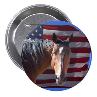 American Quarter Horse and Flag - Patriotic 3 Inch Round Button