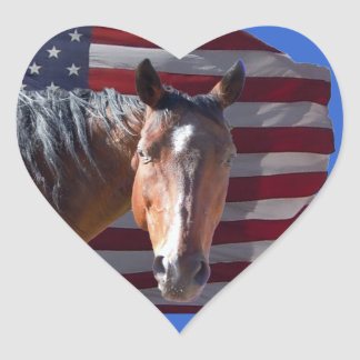 American Quarter Horse and Flag - Patriotic Heart Sticker