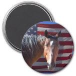 American Quarter Horse and Flag - Patriotic Refrigerator Magnets