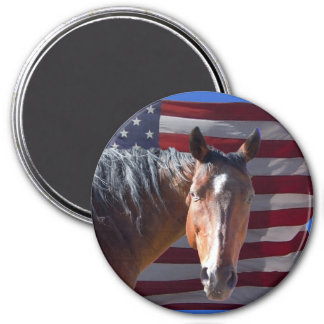 American Quarter Horse and Flag - Patriotic Refrigerator Magnets