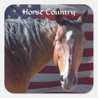 American Quarter Horse and Flag - Patriotic Square Sticker
