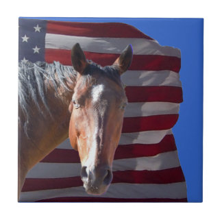 American Quarter Horse and Flag - Patriotic Tile