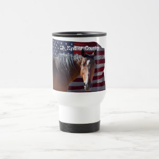American Quarter Horse and Flag - Patriotic Travel Mug