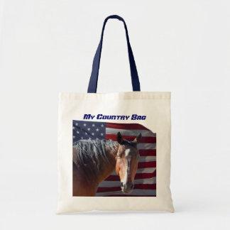American Quarter Horse and U.S. Flag - Patriotic Tote Bags