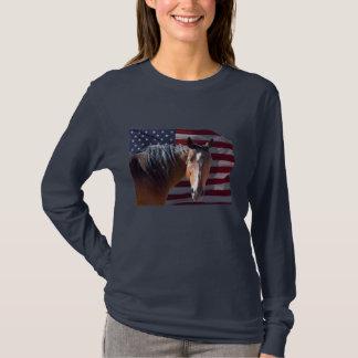 American Quarter Horse and U.S. Flag - Patriotic T-Shirt