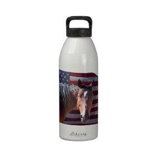 American Quarter Horse & Flag - Patriotic Water Bottle