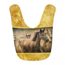 American Quarter Horse with a gold foil design Baby Bib