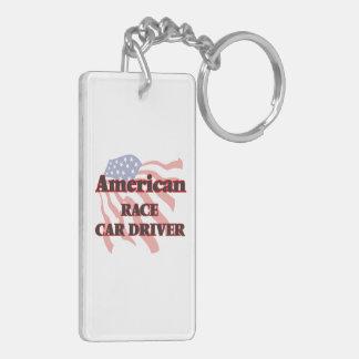 American Race Car Driver Double-Sided Rectangular Acrylic Keychain
