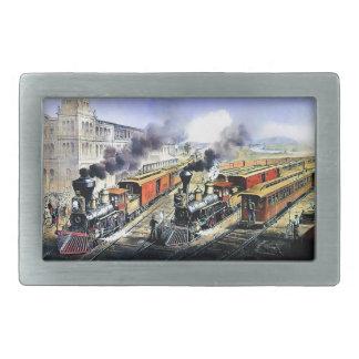 American railroad steam engine trains belt buckle