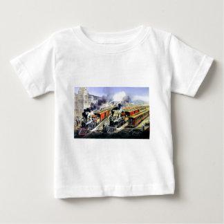 American railroad steam engine trains infant t-shirt