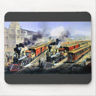 American railroad steam engine trains mouse pad