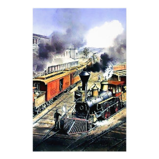 American railroad steam engine trains customized stationery