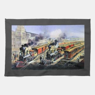 American railroad steam engine trains towel