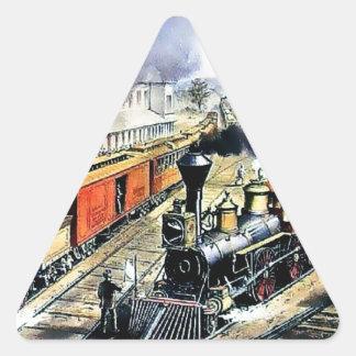 American railroad steam engine trains triangle sticker