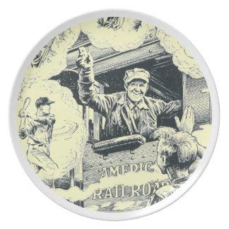 American Railroad Train Engineer Dinner Plates