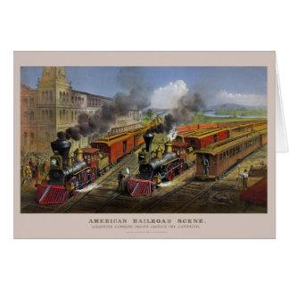 American railroad trains (1874) greeting card