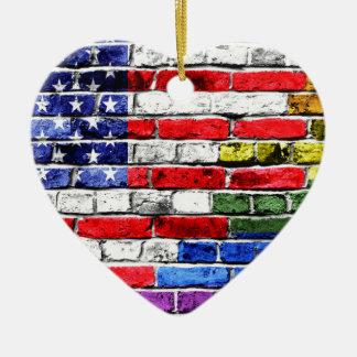 American Rainbow Flag Ceramic Ornament