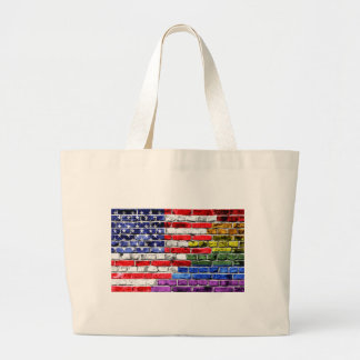 American Rainbow Flag Large Tote Bag