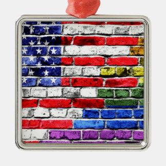 American Rainbow Flag Metal Ornament