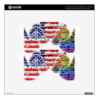 American Rainbow Flag PS3 Controller Decal